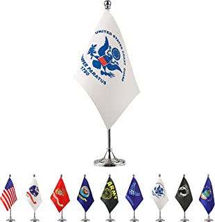 TSMD US Coast Guard Desk Flag Small Mini United States Military Table Flags with Stand Base,Decorations Supplies for Army Party Events Celebration