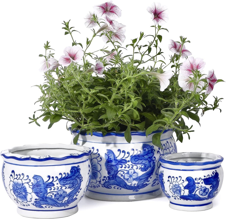 Ceramic Planter - POTEY 7.5+5.5+4.1 Inch Blue and White Planter Ceramic Flower Pots Decorative with Drainage Hole - 817, Set of 3