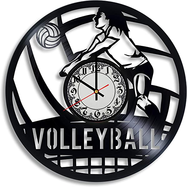 Krykavskyi Art Design Volleyball Gifts For Team Vinyl Wall Clock Volleyball Coach Gift Volleyball Mom Volleyball Gifts For Teen Girl