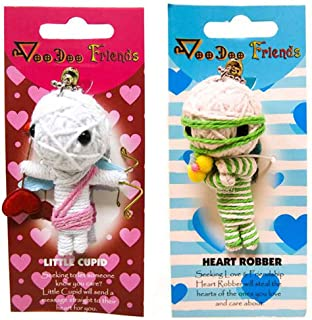 FROG SAC Voodoo Dolls Set of 2 - Yarn String Doll Great as Keychain, Charm for Purse, Backpacks, Office Accessories - Great Gifts (Little Cupid & Heart Robber)