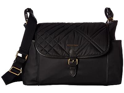 Burberry Kids Flap Diaper Bag (Black) Bags