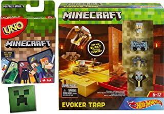 Hot Wheels Minecraft Adventure Series Car Evoker Trap with Iron Steve + Minecart & Figures Uno Character Card Game 8-Bit Figure Playset