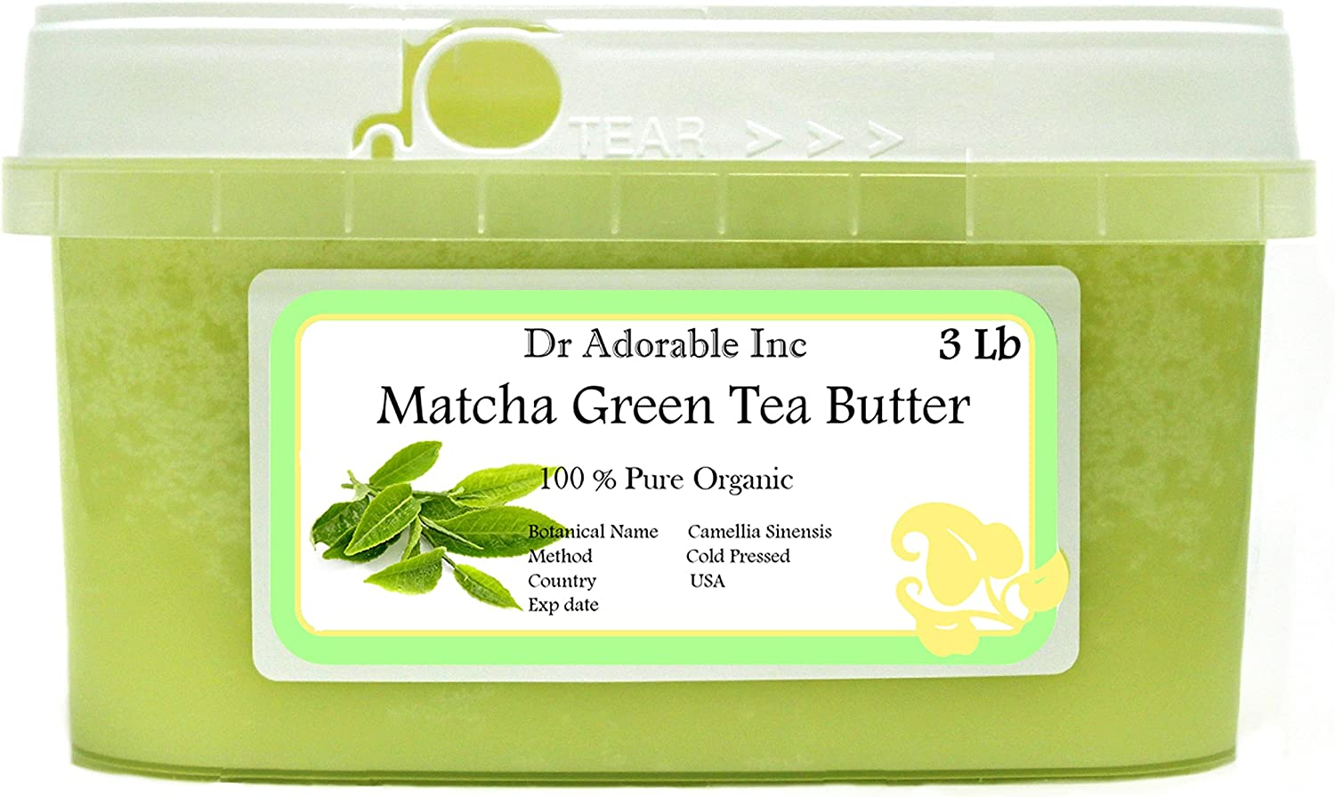3 Opening large release sale LB 48 Oz Green Tea Refined Organic Year-end gift Butter 100% Pure Matcha