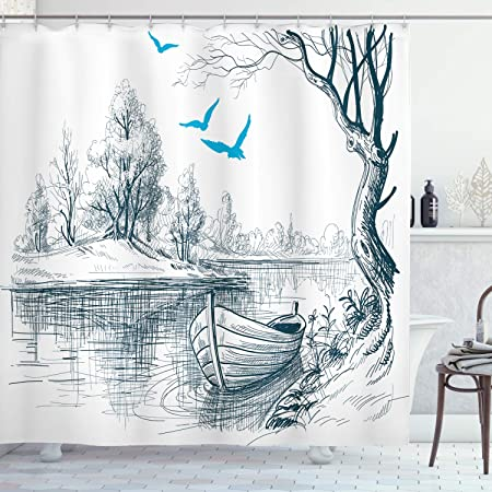 Ambesonne Landscape Shower Curtain Boat On Calm River Trees Birds Twigs Sketch Drawing Clipart Water Minimalist Cloth Fabric Bathroom Decor Set With Hooks 75 Long Petrol Blue Home Kitchen