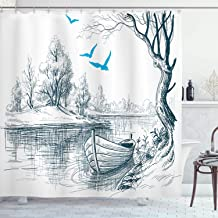 Ambesonne Landscape Shower Curtain, Boat on Calm River Trees Birds Twigs Sketch Drawing Clipart Water Minimalist, Cloth Fabric Bathroom Decor Set with Hooks, 70