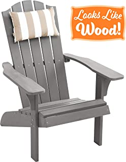 PolyTEAK Element Faux Wood Poly Adirondack Chair with Pillow, Gray | Adult-Size, Weather Resistant, Made from Plastic