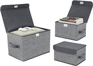 DIMJ Boîte de Rangement Tissu Pliable, Caisse de Rangement avec Couvercles pour Vêtements, Livres, Jouets, Bureau, Chambre...