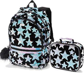 Justice Set 2 School Backpack Star Velvet Flip Sequin and Lunch Tote