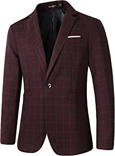 Mens Casual One Button Slim Fit Plaid Blazer Jacket Sport Coat