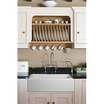 """ZUHNE Ostia White Farmhouse Single Bowl Fireclay Kitchen Sink (33"""" Reversible Apron)"""