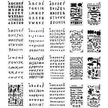 Paquete de 20 plantillas de letras y n/úmeros de Meetory para cuadernos tama/ño A5