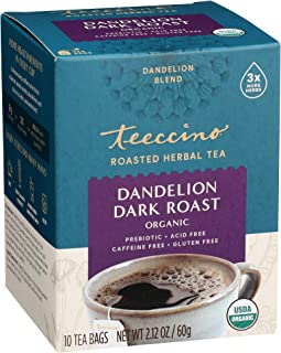 Teeccino Dandelion Tea – Dark Roast – Rich & Roasted Herbal Tea That's Caffeine Free & Prebiotic with Detoxifying Dandelio...