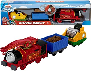 Thomas and Friends Year 2017 Trackmaster Series Motorized Railway 3 Pack Train Set - Helpful Harvey with Wood Chip Wagon & Wood Chipper