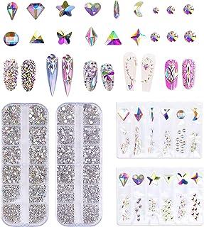 120+3000 Pcs Nail Rhinestones Set, AB Crystal Rhinestones, Flatback Crystals with Mixed Shapes and Sizes for Nail Art Deco...
