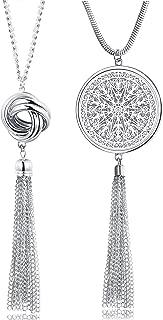 2PCS Long Pendant Necklaces for Woman Knot Disk Circle Tassel Y Necklaces Set