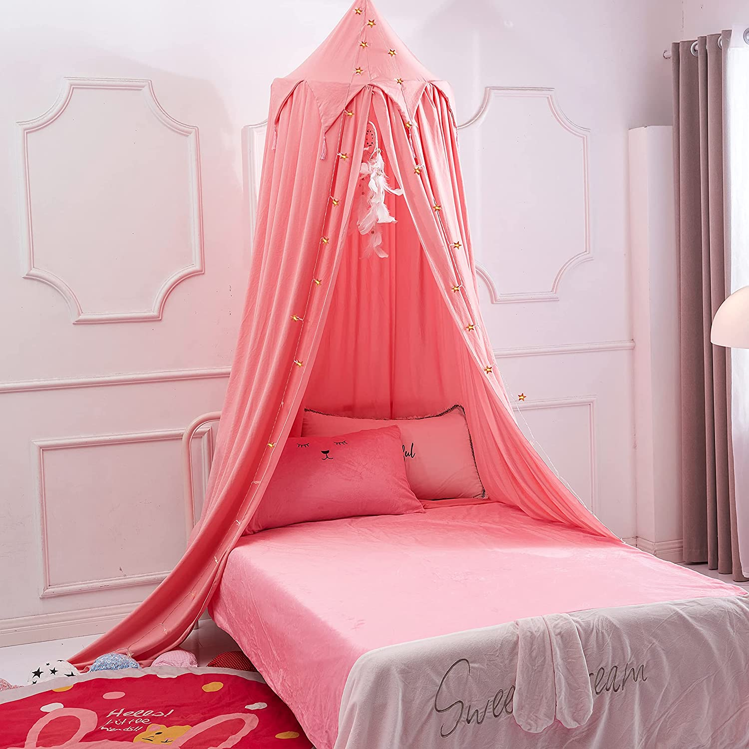 Akiky Princess Bed Canopy for Kids Bed, Playing Tent Canopy with Dream Catcher for Girls Room Decoration Princess Castle, Children Reading Nook Canopies in Home Decor(Pink)