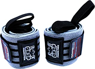 Grip Power Pads Deluxe Wrist Wraps (1 Pair /2 Wraps) for Weight Lifting Wrist Support Cotton Wraps Gym Bandage Straps for Men & Women - Premium Quality & PRO Rubber
