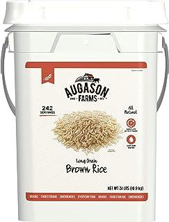 Augason Farms Long Grain Brown Rice Emergency Food Storage 24 Pound Pail