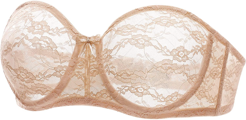 DOBREVA Women's No Padding Strapless Lace Bra Underwire Multiway See-Through