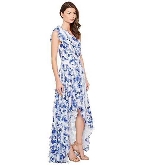 Cheap Online Clearance Recommend Nicole Miller Fringe Fabulous Cecily High-Low Gown Blue Multi Buy 100% Authentic 8U5LLoM8D3