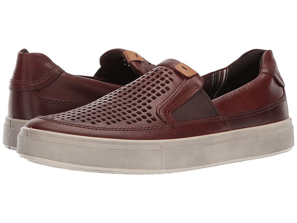ECCO Kyle Perforated Slip-On (Cognac) Men's Slip on Shoes, Tan