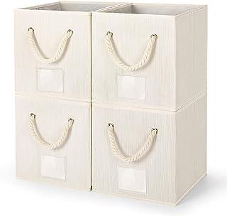 Amazon Brand – Umi Lot de 4 boîtes de Rangement en Tissu avec cordelettes en Coton, Cube de Rangement Tissu, Panier de Ran...
