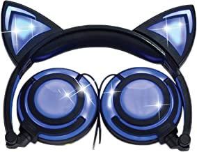 Cat Ear Headphones w/Rechargeable LED Lights - Newest 2019 Version Over Ear Headphones for Girls & Boys, Compatible for iPad, Android & Others, Lights Up Cat Ears & Speakers (black)