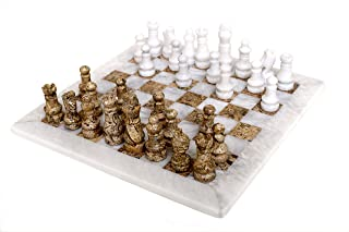 RADICALn White and Fossil Coral Weighted Handmade Marble Popular Classic Tournament Chess Play Game Board Set for Men - Non Wooden Non Go Non Checkers - Best New Home Decorations Gift Play Chess Sets