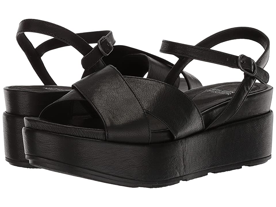 Eileen Fisher Juno (Black Tumbled Leather) Women
