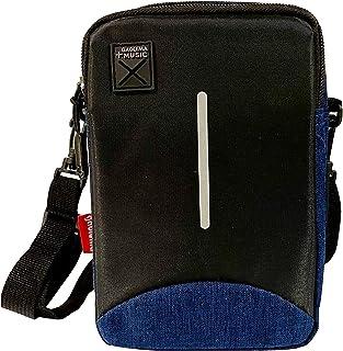 Bolsa de tela, bandolera pequeña, para teléfono celular, bolso cruzado, para hombres y mujeres, color azul con negro, GAOL...