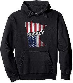 Minnesota USA Flag Hockey Gift Pullover Hoodie