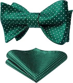 HISDERN Bow Tie Self Tie Bow Tie Pocket Square Polka Dot Bow Ties for Men Handkerchief Bowtie Set for Tuxedo Wedding Party...