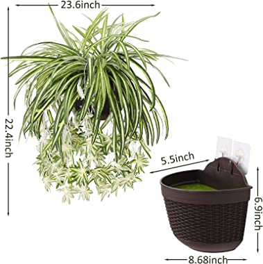 """THE BLOOM TIMES 23.6"""" Large Artificial Hanging Plants with Pot Fake Spider Silk Plants for Home Indoor Wall Decor"""
