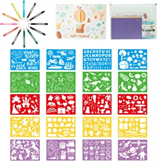 SOTOGO 35 Pieces Drawing Stencils Set Creativity Stencils Kit Craft Educational Toys for Kids, 300 Different Patterns