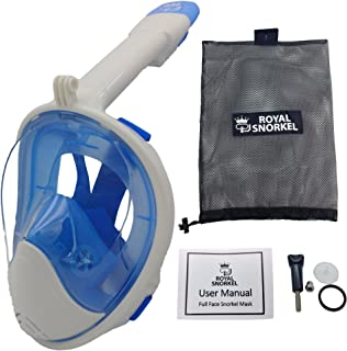 New 3rd Gen Full Face Snorkel Mask - Longer Breathing Tube, Flat Anti Fog Lens - Adult and Kids Size - GoPro Compatible, Easy to Breathe Underwater - Best Panoramic Snorkeling Masks