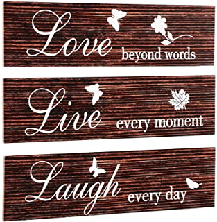 3 Pieces Rustic Wood Sign Wall Decor Live Love and Laugh Quote Sign Farmhouse Wall Mount Decoration for Home Office Weddin...