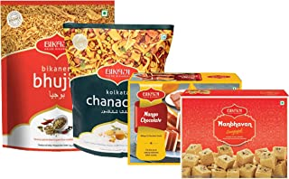 Bikaji - Indian Diwali Festive Gift Box - Diwali Special Sweets & Snacks - Mango Chocolate, Manbhavan Soan Papdi, Bhujia and Kolkatta Chana-Chur