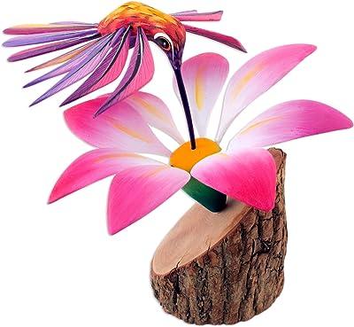 NOVICA Pink Animal Themed Copal Wood Alebrije Sculpture, Happy Hummingbird'