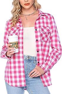 Hotouch Geruit overhemd dames flanel plaid shirts lange mouwen button down casual blouseshirt basic boyfriend overhemd met...