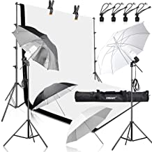 Emart 400W 5500K Daylight Umbrella Continuous Lighting Kit, 8.5x10ft Background Support System with 2 Muslin backdrops (Black and White) for Photo Studio Product, Portrait and Video Shoot Photography
