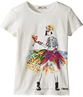 Junior Gaultier - Top with Image of Girl in Denim Jacket and Multicolored Skirt (Big Kids)