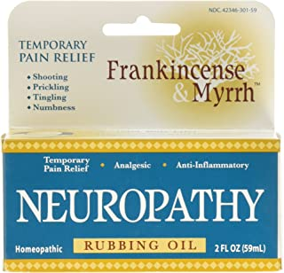 Frankincense & Myrrh Neuropathy Rubbing Oil with Essential Oils for Pain Relief, 2 Fluid Ounces - 1 Pack