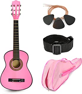 "NEW! 30"" Pink Wood Guitar with Case and Accessories Great Gift for Kids / Girls / Beginners (Standard)"