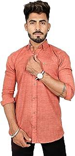 REBANTA Men's Formal Shirt Light Brown Plain 100% Pure Cotton Button Down
