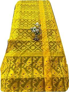 الأصفر الهندي Jamdani نسج ساري امرأة القطن لينة لينة موتيف مسلم داكا ساري 933a