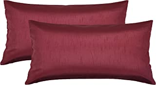 Aiking Home 12x24 Inches Faux Silk Rectangular Throw Pillow Cover, Zipper Closure, Burgundy (Set of 2)