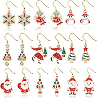 Christmas Drop Dangle Earrings Jewelry Set for Thanksgiving Womens Girls Kids Including Christmas Snowman Snowflake Abduct Deer Gift Box Sock Santa Claus Christmas Tree Bell Earrings