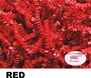 Crinkle Cut Paper Shred Grass Filler for Gift Box Wrapping and Basket Filling in Resealable Bags (RED, 1 LB)