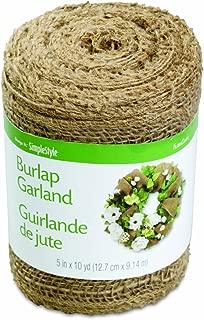 FloraCraft Burlap Garland 5 Inch x 10 Yard Brown