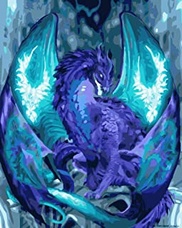 DIY Paint by Numbers, EVERMARKET Dragon Canvas Oil Painting Kit for Adults Beginners Acrylic Numbers Painting Magic Dragon...